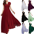 Women Wedding Bridesmaid Wrap Long Dress Party Formal Chiffon Maxi Evening Gown