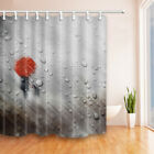 Walking In Rain With Red Umbrella Bathroom Fabric Shower Curtain With Hooks 71""