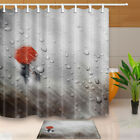 """Walking In Rain With Red Umbrella Bathroom Fabric Shower Curtain With Hooks 71"""""""