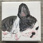 ORIGINAL ART DOG MINIATURE  PAINTING PICTURE PET PORTRAIT ARTIS SIGN /NOT PRINTS