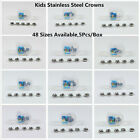 5Pcs Dental Preformed Kid Primary Molar Crown Stainless Steel Temporary Crowns