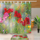 Beautiful Vibrant Flower Bathroom Fabric Shower Curtain 71 Inches With Hook
