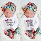 Newborn Baby Girls Outfits Clothes Floral Romper Bodysuit Pants Hat Headband USA