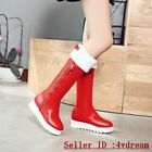 Winter Warm Buckle Chic Ladies Pull On Mid Calf Boots Round Toe Shoes Flats 1214