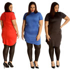 New Womens Plus Size Tunic Ladies Suede Top Turtle Polo Neck Dress Party Soft