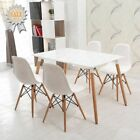 Eames style Wood dining table and 4 white Chairs kitchen dining room furnture