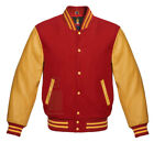 Varsity jacket Baseball School College Red Wool & Gold Genuine Leather Sleeves