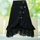 IK- Women's Steampunk Gothic Style Black Lace Splicing  Buckle Skirt Ornate