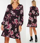 Dorothy Perkins DP Black Floral Print Wrap Dress Sizes 6 to 18