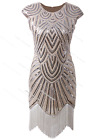 Flapper Beaded Fringed Cocktail Dress Vintage 1920s Gatsby Roaing 20s Costume 20