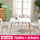 Dining Table And 4 Chairs Set White Rectangle Wood Legs EiffelStyle Retro Design <br/> New UK Stock✔Free Delivery✔Office Learn Coffee Table✔