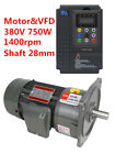 3ph 380V 750W 1HP 1400RPM ELECTRIC MOTOR With VFD Inverte Gear Reducer Conveying