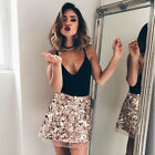 UK Women High Waist Bodycon Sequins Evening Party Ladies Casual Short Mini Skirt