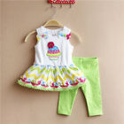 Infant Baby Girls Outfit Two Piece Cake Tutu Dress Top+Pant Set 6M 9M 12M 18M 3t