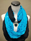 Carolina Panthers Team Color  Infinity Scarf with Heart-Shaped Pendant