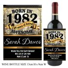 Personalised Born in 1982 Year Happy 36th Birthday Wine Champagne Bottle Label