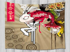 Japan Style Creative Fish Flower Wall Hanging Tapestry Smooth Supple Fabric