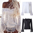 Fashion Womens Summer Off Shoulder Shirt Long Sleeve Casual Blouse Lace Up