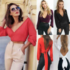 Fashion Women Ladies V-Neck Backless Long Sleeve Shirt Casual Cotton Blouse Tops