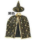 Halloween Kids Unisex Stars Cloak Witch Wizard Hat Prom Costume Cosplay Mode