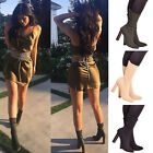 Ladies Womens High Block Heel Ankle Boots Knitted Stretch Casual Shoes Size 3-8