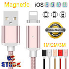 US 3~10FT 2.4A Fast Magnetic Charger USB Data Cable Wire For iPhone 8 7 6S Plus