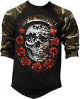 Men's Dia De Muertos Skull Camo Baseball Raglan T Shirt Day Of the Dead Scary