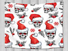 Watercolor Skull In Santa Hat Wall Hanging Tapestry Smooth Supple Fabric