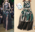Occident style runway Camisole Sleeveless Jacobs Embroidery big hemlines Dress