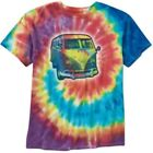 Official Licensed VW Volkswagen Kombi Bus Tie Dye Hippie Mens Short Sleeve Shirt