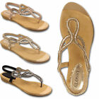 Womens Ladies Toe Post Gladiator Sandals Flat Strappy Diamante Shoe 3 4 5 6 7 8