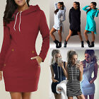 Womens Casual Hooded Hoodies Long Sleeve Sweater Pocket Bodycon Tunic Dress Tops