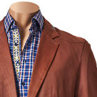 Inserch Mens Cotton Coated Sport Coat Blazer with PU Trim Sizes S-4XL