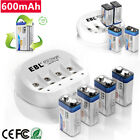 rechargeable 9v batteries with charger - EBL 600mAh 9V 6F22 Rechargeable Batteries with 4 Slots 9-Volt Battery Charger