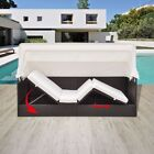 Garden Rattan Sun Lounger Sofa Bed Daybed Outdoor Black/Brown with Canopy Shade cheap