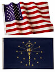 Indiana State and American Flag Combination, Made In USA, All Sizes, You Pick