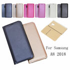 For Samsung Galaxy A8 A5 A7 2018 Luxury Leather Flip Wallet Magnetic Case Cover