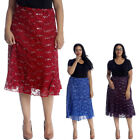 New Womens Skirts Plus Size Ladies Floral Lace Sequin Elastic Fashion Knee Sale