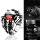 Retro Men Dragon Claw Ruby Ring Titanium Stainless Steel Antique Jewelry