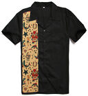 Men Rockabilly Novelty Bowling Shirts Cotton Top Black Casual Plus Size Shirts