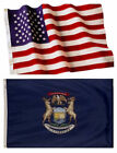 Michigan State and American Flag Combo, Made In USA, All Sizes, You Pick