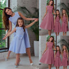 USA Mother Daughter Clothes Bowknot dress Family Matching Outfits Pleated Girls