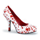 PLEASER FUNTASMA Bloody-12 White Patent Blood Spatter Court Shoes UK 3-9