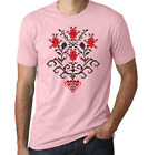 Retro slavic embroidery floral pattern ornament pink printed cotton men t-shirt