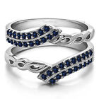 Silver Genuine Sapphire Double Row Infinity Ring Guard Enhancer (0.38tw)