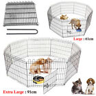 Foldable Large & Extra Large 8 Panel Pet Dog Cat Puppy Rabbit Play Pen Cage