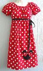 Minnie Mouse Applique 70's Insprd.Lady Dress Size S M L XL Halloween Red Pink..