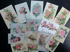 BB21 -- Lot of 14 Vintage Pink Roses Greeting Card DIE CUTS for CARD MAKING