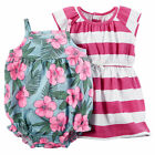 Carters 12 Months Pink Stripe Dress & Tropical Romper Set Baby Girl Clothes NWT