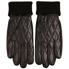Men's Quilted Leather Winter Warm Lined Gloves Decorative Stitching